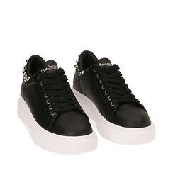 Sneakers nere, zeppa 5 cm , Primadonna, 182621192EPNERO035, 002a