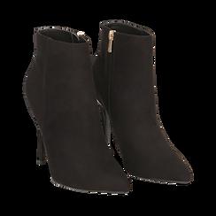 Ankle boots neri in microfibra, tacco 10,5 cm , Scarpe, 142168616MFNERO035, 002 preview