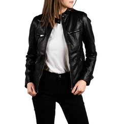Chaqueta biker en eco-piel color negro, Primadonna, 156501203EPNERO3XL, 001 preview