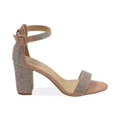 Sandalias en microfibra con pedrería color nude, tacón 7,50 cm, OPORTUNIDADES, 154913226MPNUDE035, 001 preview