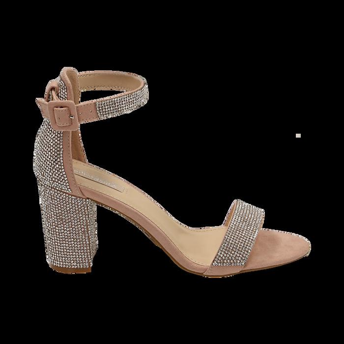 Sandalias en microfibra con pedrería color nude, tacón 7,50 cm, OPORTUNIDADES, 154913226MPNUDE035