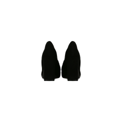 Mocassini décolleté neri scamosciati con frange, tacco 9 cm, Scarpe, 122186591MFNERO, 003 preview