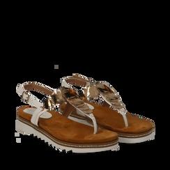 Sandali infradito bianchi in eco-pelle con suola bianca, Scarpe, 134922304EPBIAN035, 002a