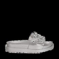 Zeppe argento in pvc con pietre ed effetto see through, Primadonna, 134700055PVARGE036, 001a