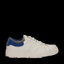 Sneakers bianche in vera pelle e dettaglio blu in camoscio, Scarpe, 131611783PEBIBL035, 001a