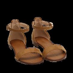Sandali marroni in microfibra, Chaussures, 154903091MFMARR035, 002a