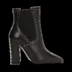 Tronchetti neri in vera pelle con mini-borchie, tacco 10 cm, Primadonna, 12D614310VINERO036, 001a