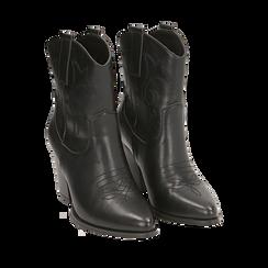 Santiags noirs, talon 8,5 cm, CHAUSSURES, 170581020EPNERO035, 002a