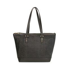 Maxi-bag nera intrecciata, Primadonna, 172301047EPNEROUNI, 003 preview