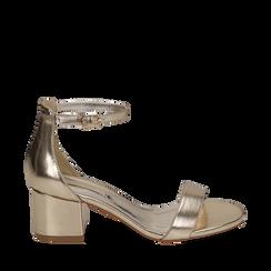 Sandali oro in eco-pelle laminata, tacco 5,50 cm, Scarpe, 152707031LMOROG035, 001a