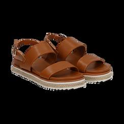 Sandali platform cuoio in eco-pelle, zeppa 4 cm,