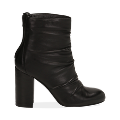 Ankle boots neri in pelle, tacco 10 cm ,