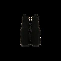 Tronchetti neri con intrecci, tacco 10 cm, Scarpe, 122196910MFNERO, 003 preview