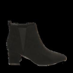 Ankle boots neri in microfibra, tacco 6 cm , 164931531MFNERO036, 001a