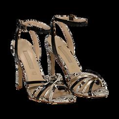 Sandali multilistino neri in eco-pelle effetto snake skin, tacco 11 cm, Sandali con tacco, 132120686PTNERO035, 002 preview