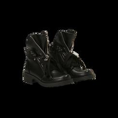 Anfibi Combat Boots neri, tacco basso, Scarpe, 12A782732EPNERO, 002 preview