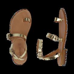 Sandali oro laminato, Scarpe, 158100570LMOROG036, 003 preview