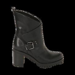 Biker boots neri in eco-pelle, tacco 8 cm , Scarpe, 140637855EPNERO, 001 preview