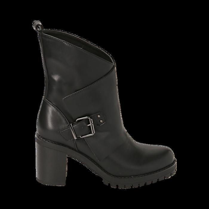 Biker boots neri in eco-pelle, tacco 8 cm , Scarpe, 140637855EPNERO