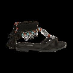 Sandali infradito lace-up neri, Scarpe, 153683578EPNERO, 001 preview