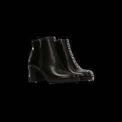 Tronchetti neri in vera pelle con tacco 5 cm, Primadonna, 127714166PENERO035, 002