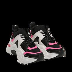 Dad shoes nero/fucsia in tessuto tecnico, zeppa 8 cm , Scarpe, 147580471TSNEFU035, 002a