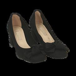 Escarpins noir en microfibre avec noeud, talon 5,50 cm , Chaussures, 152182281MFNERO037, 002 preview