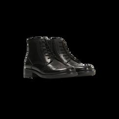 Anfibi neri in vera pelle, con gambale basso, tacco basso, Scarpe, 127717704PENERO039, 002