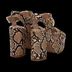 Sandali con plateau beige in eco-pelle, effetto snake skin, tacco 11 cm , Sandali con tacco, 134903269PTBEIG035, 004 preview