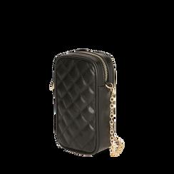 Porta telefono nero matelassé, Borse, 165123279EPNEROUNI, 002a