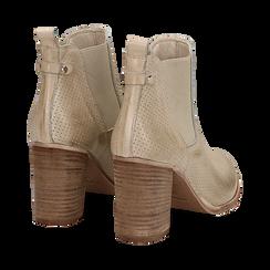 Chelsea boots traforati beige in vitello, tacco 8,50 cm , Scarpe, 138900880VIBEIG036, 004 preview