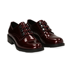 Stringate bordeaux in vernice, Scarpe, 14A776153VEBORD035, 002 preview