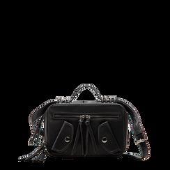 Camera bag con tracolla nera in ecopelle, Borse, 122440791EPNEROUNI, 001a