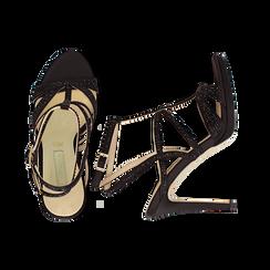 Sandali multilistino neri in raso, tacco 10,50 cm, Sandali con tacco, 132127406RSNERO036, 003 preview