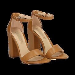 Sandali minimal cuoio in eco-pelle, tacco 10,5 cm , Sandali con tacco, 132133791EPCUOI037, 002 preview