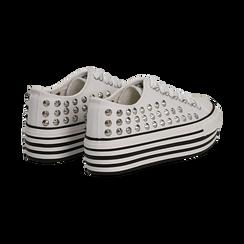 Sneakers bianche in canvas con borchie, platform 4 cm, Scarpe, 132619223CABIAN036, 004 preview
