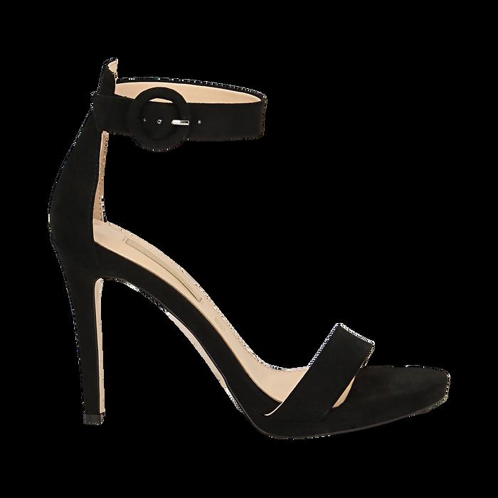 Sandali neri in microfibra, tacco stiletto 10 cm, Sandali con tacco, 132127405MFNERO037