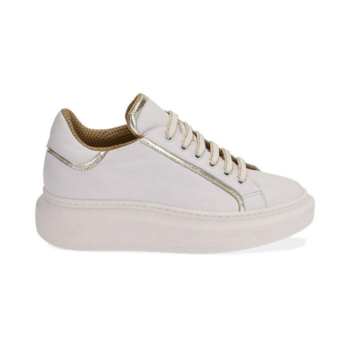 Baskets en cuir blanc/or, Primadonna, 17L600101PEBIOR035