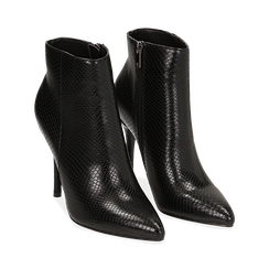 Ankle boots neri effetto snake, tacco 11 cm ,