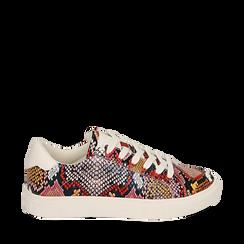 Sneakers nero/rosse in eco-pelle snake print, Sneakers, 152607101PTNERS035, 001a