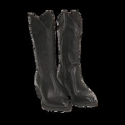 Camperos neri in pelle, tacco 4 cm, Primadonna, 157732902PENERO036, 002a