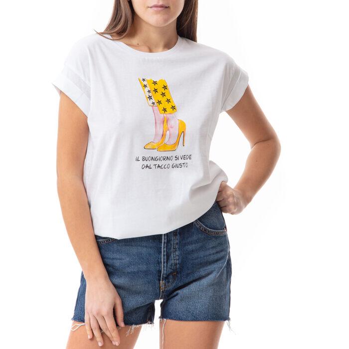 T-shirt blanc à imprimé chaussures, Primadonna, 17I704001TSBIANL