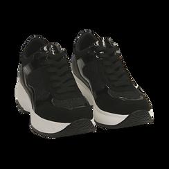 Sneakers nere glitter, zeppa 5 cm , Primadonna, 162800482GLNERO035, 002 preview
