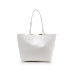 Shopping bag bianca in eco-pelle con pochette ed interni stampa floreale, Borse, 133783133EPBIANUNI, 003 preview