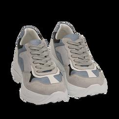 Dad shoes celesti in microfibra, Sneakers, 152899259MFCELE035, 002a