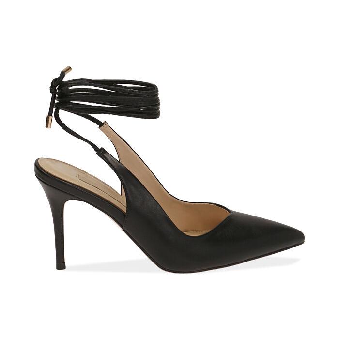Slingback lace-up negro, tacón 9 cm, Zapatos, 172106620EPNERO036