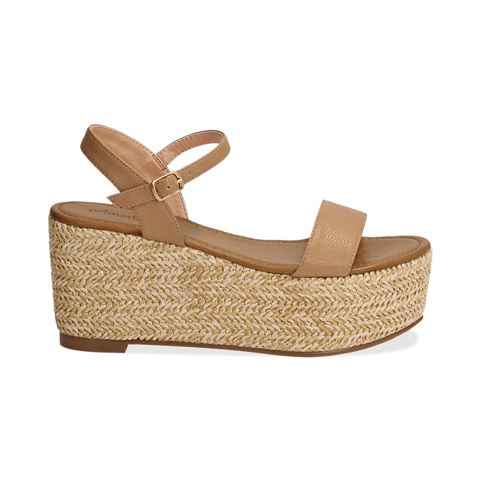 Sandali platform cuoio in eco-pelle, zeppa in corda 8 cm, Primadonna, 134983293EPCUOI035