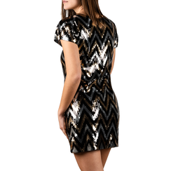 Minidress optical nero/oro con paillettes, Primadonna, 15B411406TSNEORL, 002 preview