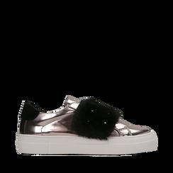 Sneakers canna di fucile Slip-on con dettagli faux-fur e borchie, Scarpe, 126103025SPCANN037, 001a