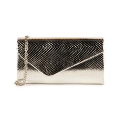 Pochette en eco-piel con estampado de serpiente color plateado, Bolsos, 155108821EVARGEUNI, 001 preview